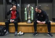 14 February 2017; Stephen O'Donnell, left, of Dundalk FC and Steven Beattie of Cork City in attendance at the SSE Airtricity League Launch 2017 at the Aviva Stadium in Lansdowne Road in Dublin. Photo by David Maher/Sportsfile