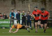 14 February 2017; Eoghan Conroy of DCU Dóchas Éireann in action against Jamie Barron, 8, and Colm Spillane, 3, of  University College Cork during the Independent.ie HE GAA Fitzgibbon Cup Quarter-Final match between University College Cork and DCU Dóchas Éireann at Mardyke in Cork. Photo by Eóin Noonan/Sportsfile