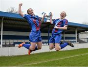 14 February 2017; Coláiste na Trócaire Rathkeale joint captains Kate Geary, left, and Eadaoin Lyons celebrate with the trophy after their victory in the Bank of Ireland FAI Schools Senior Girls National Cup Final match between Sacred Heart School Westport and Coláiste na Trócaire Rathkeale at Home Farm FC in Whitehall, Dublin. Photo by Cody Glenn/Sportsfile