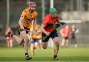 14 February 2017; Tom Devine of University College Cork in action against Paudie Foley of DCU Dóchas Éireann during the Independent.ie HE GAA Fitzgibbon Cup Quarter-Final match between University College Cork and DCU Dóchas Éireann at Mardyke in Cork. Photo by Eóin Noonan/Sportsfile