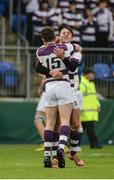 14 February 2017; Jack Gilheaney, left, and Ben O'Shea of Clongowes Wood College celebrate at the final whistle after the Bank of Ireland Leinster Schools Senior Cup second round match between Clongowes Wood College and St Mary's College at Donnybrook Stadium in Donnybrook, Dublin. Photo by Daire Brennan/Sportsfile
