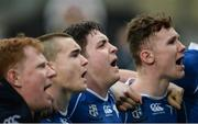14 February 2017; St Mary's College players, left to right, James Coolican, Craig Kennedy, Niall McEniff, and Ronan Watters sing their school anthem with their supporters after the Bank of Ireland Leinster Schools Senior Cup second round match between Clongowes Wood College and St Mary's College at Donnybrook Stadium in Donnybrook, Dublin. Photo by Daire Brennan/Sportsfile