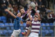 14 February 2017; Ben O'Shea, left, and Thomas Monaghan of Clongowes Wood College in action against Myles Carey of St Mary's College during the Bank of Ireland Leinster Schools Senior Cup second round match between Clongowes Wood College and St Mary's College at Donnybrook Stadium in Donnybrook, Dublin. Photo by Daire Brennan/Sportsfile