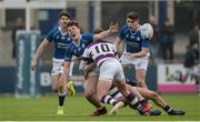 14 February 2017; Myles Carey of St Mary's College is tackled by Thomas Monaghan of Clongowes Wood College during the Bank of Ireland Leinster Schools Senior Cup second round match between Clongowes Wood College and St Mary's College at Donnybrook Stadium in Donnybrook, Dublin. Photo by Daire Brennan/Sportsfile