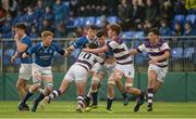 14 February 2017; Ronan Watters of St Mary's College is tackled by Thomas Monaghan, left, and Seán Ojejinmi of Clongowes Wood College during the Bank of Ireland Leinster Schools Senior Cup second round match between Clongowes Wood College and St Mary's College at Donnybrook Stadium in Donnybrook, Dublin. Photo by Daire Brennan/Sportsfile