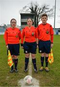 14 February 2017; Referee Deirdre Nolan, centre, with assistant referees Sarah Dyas and Lee Duffy ahead of the Bank of Ireland FAI Schools Senior Girls National Cup Final match between Sacred Heart School Westport and Coláiste na Trócaire Rathkeale at Home Farm FC in Whitehall, Dublin. Photo by Cody Glenn/Sportsfile