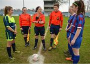 14 February 2017; Referee Deirdre Nolan, centre, with assistant referees Sarah Dyas and Lee Duffy administers the coin toss for Sacred Heart School Westport captain Saoirse Luddan, left, and Coláiste na Trócaire Rathkeale joint captains Kate Geary and Eadaoin Lyons ahead of the Bank of Ireland FAI Schools Senior Girls National Cup Final match between Sacred Heart School Westport and Coláiste na Trócaire Rathkeale at Home Farm FC in Whitehall, Dublin. Photo by Cody Glenn/Sportsfile