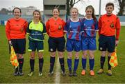 14 February 2017; Referee Deirdre Nolan, centre, assistant referees Sarah Dyas, left, and Lee Duffy with Sacred Heart School Westport captain Saoirse Luddan, second from left, and Coláiste na Trócaire Rathkeale joint captains Kate Geary, second from right, and Eadaoin Lyons, ahead of the Bank of Ireland FAI Schools Senior Girls National Cup Final match between Sacred Heart School Westport and Coláiste na Trócaire Rathkeale at Home Farm FC in Whitehall, Dublin. Photo by Cody Glenn/Sportsfile