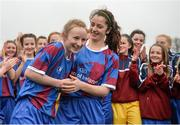 14 February 2017; Coláiste na Trócaire Rathkeale joint captains Eadaoin Lyons, left, and Kate Geary celebrate following the Bank of Ireland FAI Schools Senior Girls National Cup Final match between Sacred Heart School Westport and Coláiste na Trócaire Rathkeale at Home Farm FC in Whitehall, Dublin. Photo by Cody Glenn/Sportsfile