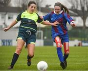 14 February 2017; Grace Mullane of Coláiste na Trócaire Rathkeale in action against Feena McManamon of Sacred Heart School Westport during the Bank of Ireland FAI Schools Senior Girls National Cup Final match between Sacred Heart School Westport and Coláiste na Trócaire Rathkeale at Home Farm FC in Whitehall, Dublin. Photo by Cody Glenn/Sportsfile