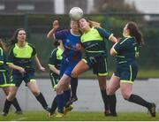 14 February 2017; Tara Coleman, centre left, of Coláiste na Trócaire Rathkeale in action against Feena McManamon of Sacred Heart School Westport during the Bank of Ireland FAI Schools Senior Girls National Cup Final match between Sacred Heart School Westport and Coláiste na Trócaire Rathkeale at Home Farm FC in Whitehall, Dublin. Photo by Craig Hanbury/Sportsfile