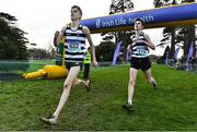 15 February 2017; Adam Fitzpatrick, left, finishes ahead of Shay McEvoy, both from St. Kieran's, Kilkenny, to win the Intermediate Boys 4500m final during the Irish Life Health Leinster Schools Cross Country at Santry Demesne in Santry, Co. Dublin. Photo by David Maher/Sportsfile