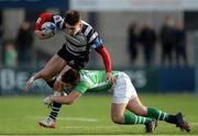 15 February 2017; Tadhg Bird of Cistercian College Roscrea is tackled by Micheal O'Kennedy of Gonzaga College during the Bank of Ireland Leinster Schools Senior Cup second round match between Cistercian College Roscrea and Gonzaga College at Donnybrook Stadium in Donnybrook, Dublin. Photo by Piaras Ó Mídheach/Sportsfile