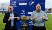 15 February 2017; Conor Montayne, Schools Committee Chairman, left, and Jon Newsome, Honarary Secretary of Schools Committee draw out the names of Gonzaga College and Blackrock College during the Bank of Ireland Leinster Schools Senior Cup Semi-Final draw at Donnybrook Stadium in Donnybrook, Dublin. Photo by Piaras Ó Mídheach/Sportsfile