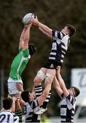 15 February 2017; James Brandon of Cistercian College Roscrea contests a line-out against Eoin Barron of Gonzaga College during the Bank of Ireland Leinster Schools Senior Cup second round match between Cistercian College Roscrea and Gonzaga College at Donnybrook Stadium in Donnybrook, Dublin. Photo by Piaras Ó Mídheach/Sportsfile