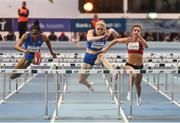 15 February 2017; Athletes, from left, Christina Manning of USA, Sally Pearson of Australia and Lily-Ann O'Hora of Ireland in action during the Women's 60m Hurdles at the AIT International Athletics Grand Prix at the AIT International Arena in Athlone, Co. Westmeath. Photo by Sam Barnes/Sportsfile