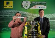 15 February 2017; Terry Cassin, left, Umbro Teamwear Sales Executive, draws Janesboro FC as the away team to face Killarney Celtic FC drawn Robert Kennedy, Aviva Ireland Head of Sales, during the FAI Junior Cup Quarter Final Launch and Draw at the Aviva Stadium in Lansdown Road, Co. Dublin. Photo by Cody Glenn/Sportsfile
