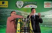 15 February 2017; Robert Kennedy, Aviva Ireland Head of Sales, draws Killarney Celtic FC as the home team to face Janesboro FC drawn by Terry Cassin, Umbro Teamwear Sales Executive, during the FAI Junior Cup Quarter Final Launch and Draw at the Aviva Stadium in Lansdown Road, Co. Dublin. Photo by Cody Glenn/Sportsfile