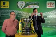 15 February 2017; Robert Kennedy, right, Aviva Ireland Head of Sales, draws Evergreen FC as the home team to face Kilmallock United AFC, drawn by Terry Cassin, Umbro Teamwear Sales Executive, during the FAI Junior Cup Quarter Final Launch and Draw at the Aviva Stadium in Lansdown Road, Co. Dublin. Photo by Cody Glenn/Sportsfile