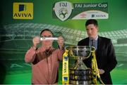15 February 2017; Terry Cassin, left, Umbro Teamwear Sales Executive, draws Kilmallock United AFC as the away team to face Evergreen FC, drawn by Robert Kennedy, Aviva Ireland Head of Sales, during the FAI Junior Cup Quarter Final Launch and Draw at the Aviva Stadium in Lansdown Road, Co. Dublin. Photo by Cody Glenn/Sportsfile