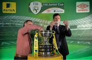 15 February 2017; Robert Kennedy, Aviva Ireland Head of Sales, draws Carrick United AFC as the home team to face Boyle Celtic, drawn by Terry Cassin, Umbro Teamwear Sales Executive, during the FAI Junior Cup Quarter Final Launch and Draw at the Aviva Stadium in Lansdown Road, Co. Dublin. Photo by Cody Glenn/Sportsfile
