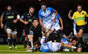 3 November 2017; Jamison Gibson-Park of Leinster scores his side's first try during the Guinness PRO14 Round 8 match between Glasgow Warriors and Leinster at Scotstoun in Glasgow, Scotland. Photo by Ramsey Cardy/Sportsfile