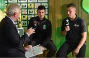 15 February 2017; Shane Clarke, right, captain of Janesboro FC, and John McDonagh, captain of Killarney Celtic AFC, are interviewed by Con Murphy during the FAI Junior Cup Quarter Final Launch and Draw at the Aviva Stadium in Lansdown Road, Co. Dublin. Photo by Cody Glenn/Sportsfile