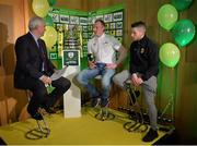 15 February 2017; Thomas Heffernan, right, captain of Kilmallock United AFC, and Sean Barcoe, captain of Evergreen FC, are interviewed by Con Murphy during the FAI Junior Cup Quarter Final Launch and Draw at the Aviva Stadium in Lansdown Road, Co. Dublin. Photo by Cody Glenn/Sportsfile