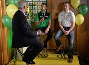 15 February 2017; Anthony O'Donnell, right, captain of Carrick United AFC, and Lochlainn Conboy, captain of Boyle Celtic, are interviewed by Con Murphy during the FAI Junior Cup Quarter Final Launch and Draw at the Aviva Stadium in Lansdown Road, Co. Dublin. Photo by Cody Glenn/Sportsfile