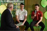 15 February 2017; Stephen Carroll, right, captain of Peake Villa FC, and Lee Murphy, captain of Sheriff YC, are interviewed by Con Murphy during the FAI Junior Cup Quarter Final Launch and Draw at the Aviva Stadium in Lansdown Road, Co. Dublin. Photo by Cody Glenn/Sportsfile