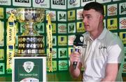 15 February 2017; Lee Murphy, captain of Sheriff YC, is interviewed during the FAI Junior Cup Quarter Final Launch and Draw at the Aviva Stadium in Lansdown Road, Co. Dublin. Photo by Cody Glenn/Sportsfile