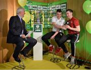 15 February 2017; Lee Murphy, centre, captain of Sheriff YC, and Stephen Carroll, captain of Peake Villa FC, are interviewed by Con Murphy during the FAI Junior Cup Quarter Final Launch and Draw at the Aviva Stadium in Lansdown Road, Co. Dublin. Photo by Cody Glenn/Sportsfile
