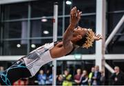15 February 2017; Jamal Wilson of Bahamas celebrates winning the Senior Men's High Jump the AIT International Athletics Grand Prix at the AIT International Arena in Athlone, Co. Westmeath. Photo by Sam Barnes/Sportsfile