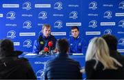 16 February 2017; Leinster rugby head coach Leo Cullen, left, and scrum-half Luke McGrath during a press conference at the RDS Arena, Ballsbridge, Dublin. Photo by Brendan Moran/Sportsfile