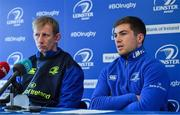 16 February 2017; Leinster scrum-half Luke McGrath, right, alongside head coach Leo Cullen during a press conference at the RDS Arena, Ballsbridge, Dublin. Photo by Brendan Moran/Sportsfile