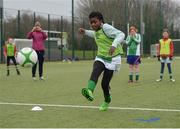 "16 February 2017; Blessing Oliveira, age 10, from Greenlane National School Clontarf, shoots to score a penalty shot in the girls' final during an FAI and Garda initiative, run with the cooperation of Dublin City Council, to promote the messages of ""Show Racism the Red Card,"" anti-bullying, and personal safety. The football blitz involving ten local schools, FAI Project Futsal Ballymun and the FAI Transition Year, took place at the Alfie Byrne Road All-Weather Pitch in Clontarf, Dublin. Photo by Cody Glenn/Sportsfile"