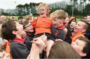 "16 February 2017; Charlie Ennis is lifted shoulder high by his St Brigid's Boys National School Killester team-mates after their finals victory during an FAI and Garda initiative, run with the cooperation of Dublin City Council, to promote the messages of ""Show Racism the Red Card,"" anti-bullying, and personal safety. The football blitz involving ten local schools, FAI Project Futsal Ballymun and the FAI Transition Year, took place at the Alfie Byrne Road All-Weather Pitch in Clontarf, Dublin. Photo by Cody Glenn/Sportsfile"
