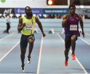 15 February 2017; Sean Safo-Antwi of Ghana on his way to winning his Senior Men's 60m ahead of Ramon Gittens of Barbados during the AIT International Athletics Grand Prix at the AIT International Arena in Athlone, Co. Westmeath. Photo by Sam Barnes/Sportsfile