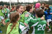 "16 February 2017; Greenlane National School Clontarf students celebrate following the girls' final victory during an FAI and Garda initiative, run with the cooperation of Dublin City Council, to promote the messages of ""Show Racism the Red Card,"" anti-bullying, and personal safety. The football blitz involving ten local schools, FAI Project Futsal Ballymun and the FAI Transition Year, took place at the Alfie Byrne Road All-Weather Pitch in Clontarf, Dublin. Photo by Cody Glenn/Sportsfile"