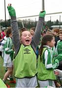"16 February 2017; Hannah Jordan, from Greenlane National School Clontarf celebrates following the girls' final victory during an FAI and Garda initiative, run with the cooperation of Dublin City Council, to promote the messages of ""Show Racism the Red Card,"" anti-bullying, and personal safety. The football blitz involving ten local schools, FAI Project Futsal Ballymun and the FAI Transition Year, took place at the Alfie Byrne Road All-Weather Pitch in Clontarf, Dublin. Photo by Cody Glenn/Sportsfile"