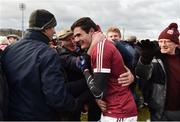 11 February 2017;Christopher McKaigue of Slaughtneil celebrates with supporters after the game in the AIB GAA Football All-Ireland Senior Club Championship semi-final match between Slaughtneil and St Vincent's at Páirc Esler in Newry. Photo by Oliver McVeigh/Sportsfile