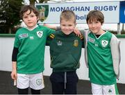 17 February 2017; Ireland supporters, from left, Liam McDonnell, age 6, Callum Reilly, age 7, and Sean McDonnell, age 8, from Kells, Co. Meath, prior to an open training session at the Monaghan RFC grounds in Co. Monaghan. Photo by Seb Daly/Sportsfile