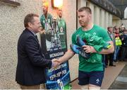 17 February 2017; Sean O'Brien of Ireland shakes hands with Sammy Mealiff, Chairman of Monaghan RFC, as he arrives prior to an open training session at the Monaghan RFC grounds in Co. Monaghan. Photo by Seb Daly/Sportsfile