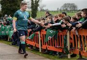 17 February 2017; Tadhg Furlong of Ireland high fives supporters prior to an open training session at the Monaghan RFC grounds in Co. Monaghan. Photo by Seb Daly/Sportsfile