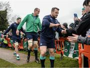 17 February 2017; Cian Healy, right, Devin Toner, centre, and Robbie Henshaw of Ireland high five supporters prior to an open training session at the Monaghan RFC grounds in Co. Monaghan. Photo by Seb Daly/Sportsfile