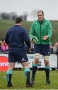 17 February 2017; Devin Toner, right, and Cian Healy of Ireland during an open training session at the Monaghan RFC grounds in Co. Monaghan. Photo by Seb Daly/Sportsfile