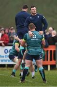 17 February 2017; Tadhg Furlong of Ireland lifts team-mate Robbie Henshaw during an open training session at the Monaghan RFC grounds in Co. Monaghan. Photo by Seb Daly/Sportsfile