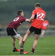 17 February 2017; Alan O'Donovan of University College Cork was sent off by referee James Molloy after he kicked Ciaran Corrigan of St Mary's University College during the Independent.ie HE GAA Sigerson Cup semi-final match between St Mary's University College and University College Cork at the Connacht GAA Centre in Bekan, Co. Mayo. Photo by Matt Browne/Sportsfile