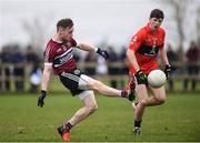 17 February 2017; Ciaran Corrigan of St Mary's University College in action against Kevin Crowley of University College Cork during the Independent.ie HE GAA Sigerson Cup semi-final match between St Mary's University College and University College Cork at the Connacht GAA Centre in Bekan, Co. Mayo. Photo by Matt Browne/Sportsfile