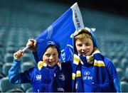 17 February 2017; Leinster supporters 7 year old Nathan, left, and 11 year old Daniel Donoghue from, Newcastle, Co. Wicklow, ahead of the Guinness PRO12 Round 15 match between Leinster and Edinburgh at the RDS Arena in Ballsbridge, Dublin. Photo by Ramsey Cardy/Sportsfile